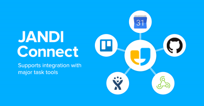JANDI can integrate with Google Calendar, GitHub and other external services